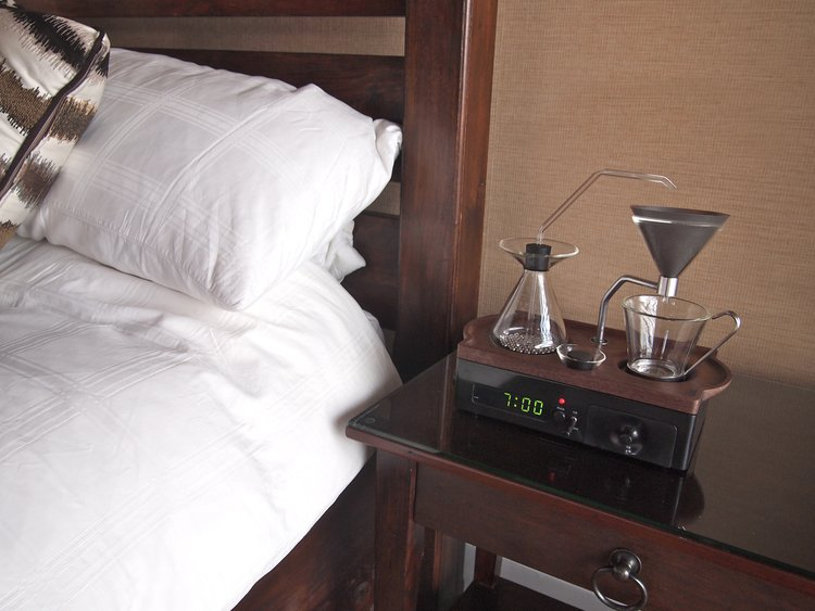 alarm clock and coffee brewer