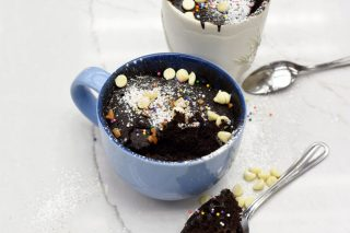 Chocolate microwave mug cake is both fluffy and gooey